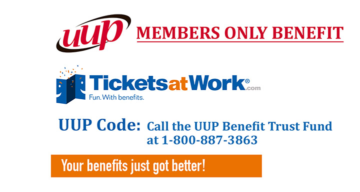 New benefit for UUP members: TicketsatWork.com