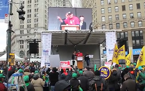 UUP President Kowal at NYC workers rally